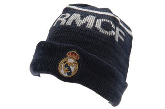 Real Madrid FC Official Adults Unisex Knitted Hat (Navy) (One Size)