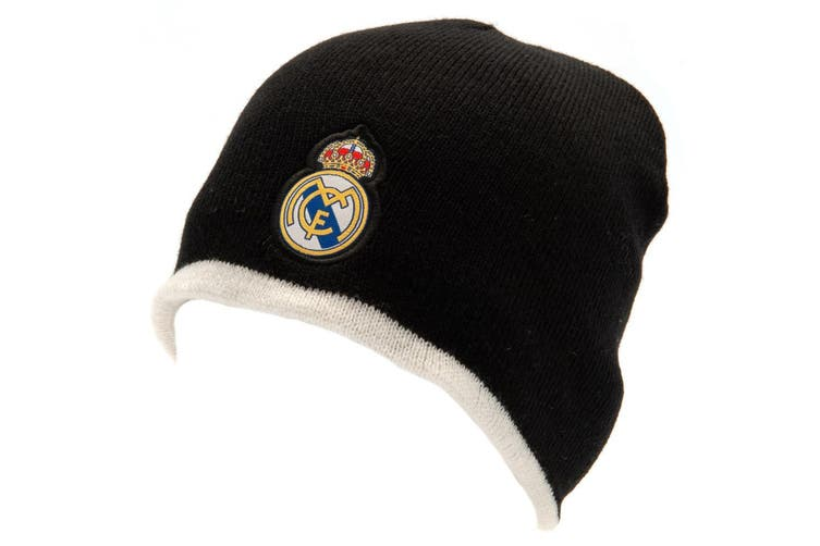 Real Madrid FC Official Adults Unisex Reversible Knitted Hat (Black/White) (One Size)