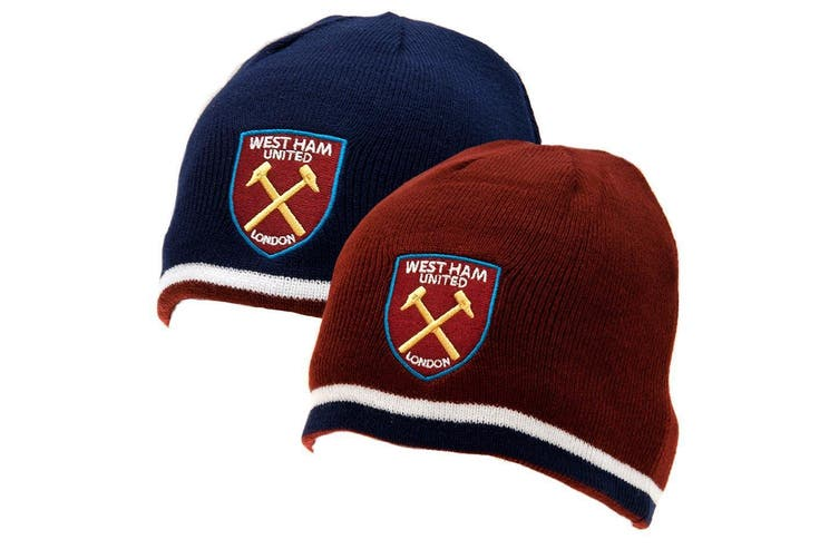 West Ham United FC Official Adults Unisex Reversible Knitted Hat (Blue/Claret) (One Size)