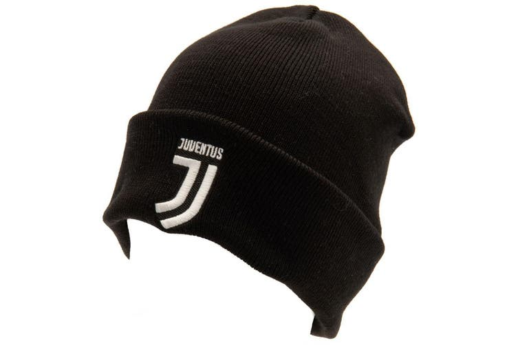 Juventus FC Official Adults Unisex Turn Up Knitted Hat (Black/White) (One Size)
