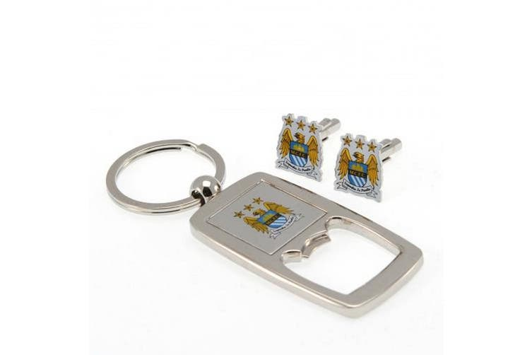 Manchester City FC Cufflinks And Keyring Bottle Opener Set (Silver) (One Size)