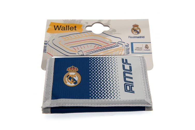 Real Madrid FC Touch Fastening Fade Design Nylon Wallet (White/Blue) (One Size)