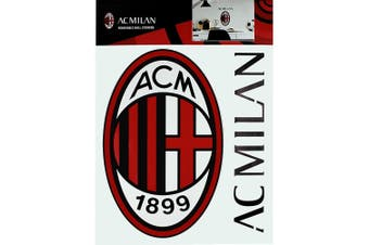 AC Milan A4 Wall Stickers (Set of 2) (Red/Black) (One Size)