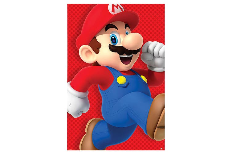 Super Mario Poster (Red/Blue) (One Size)
