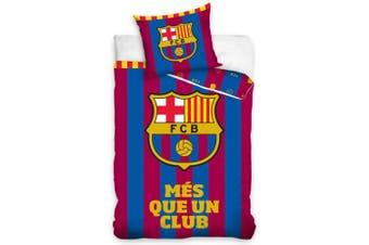 FC Barcelona Striped Single Duvet Set (Blue/Red) (One Size)