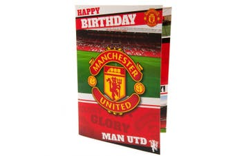 Manchester United FC Musical Birthday Card (Red) (One Size)