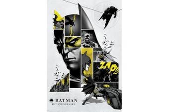 Batman 80th Anniversary 122 Poster (Grey/Black/Yellow) (One Size)