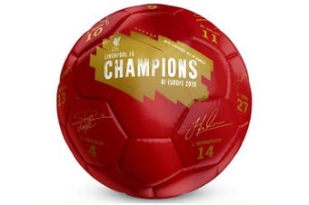 Liverpool FC Champions Of Europe Signature Football (Red) (Size 5)