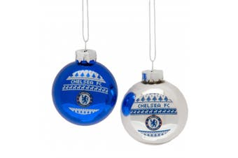 Chelsea FC Christmas Nordic Baubles (Pack Of 2) (Blue/Silver) (One Size)