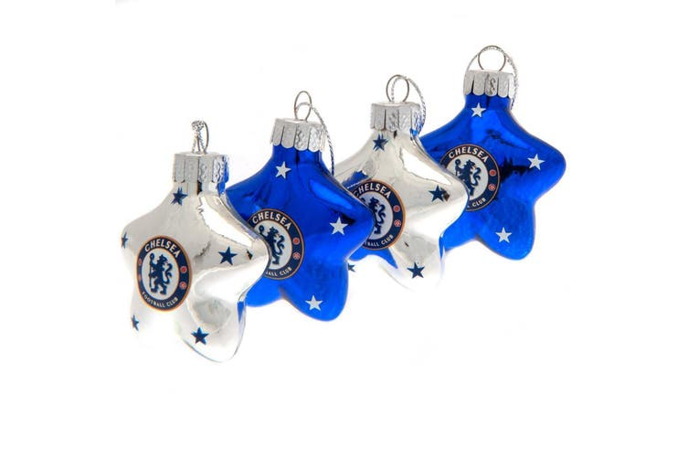Chelsea FC Christmas Star Baubles (Pack Of 4) (Silver/Blue) (One Size)