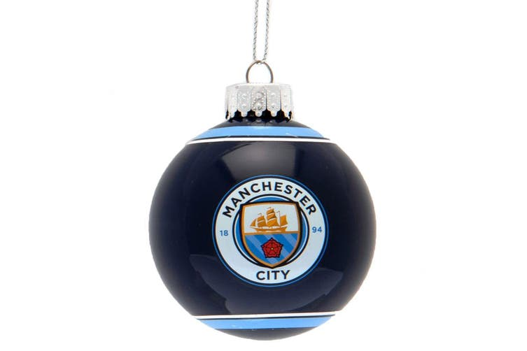 Manchester City FC Christmas Glass Bauble (Black) (One Size)