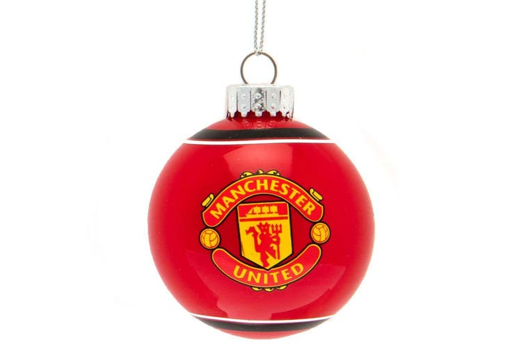 Manchester United FC Christmas Glass Bauble (Red) (One Size)