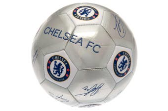 Chelsea FC Printed Players Signatures Signed Football (Silver) (One Size)
