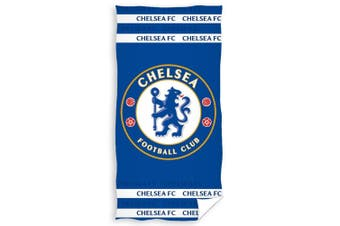 Chelsea FC Crest Velour Beach Towel (Blue) (One Size)