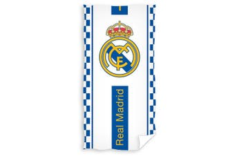 Real Madrid FC Crest Velour Beach Towel (White/Blue) (One Size)