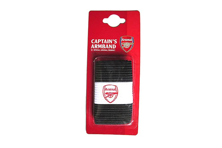 Arsenal FC Official Captains Arm Band (Black/White) (One Size)