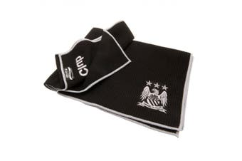 Manchester City FC Official Aqualock Caddy Towel (Black/Silver) (One Size)