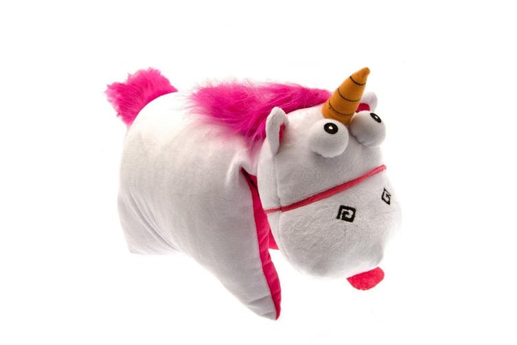 Despicable Me Official Fluffy Unicorn Folding Cushion (White/Pink) (One Size)
