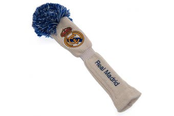 Real Madrid FC Official Fairway Pompom Headcover (White/Blue) (One Size)