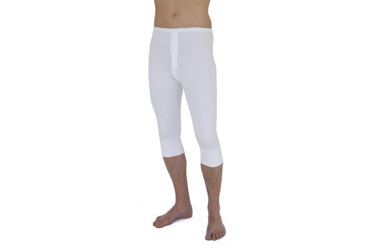 Mens Thermal Underwear 3/4 Length Long Johns Polyviscose Range (British Made) (White) (Waist: 39-42inch (X-Large))