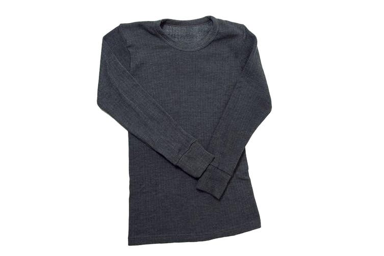 Boys Thermal Clothing Long Sleeved T Shirt Polyviscose Range (British Made) (Charcoal) (Chest: 30-32inch (Age 12-13))
