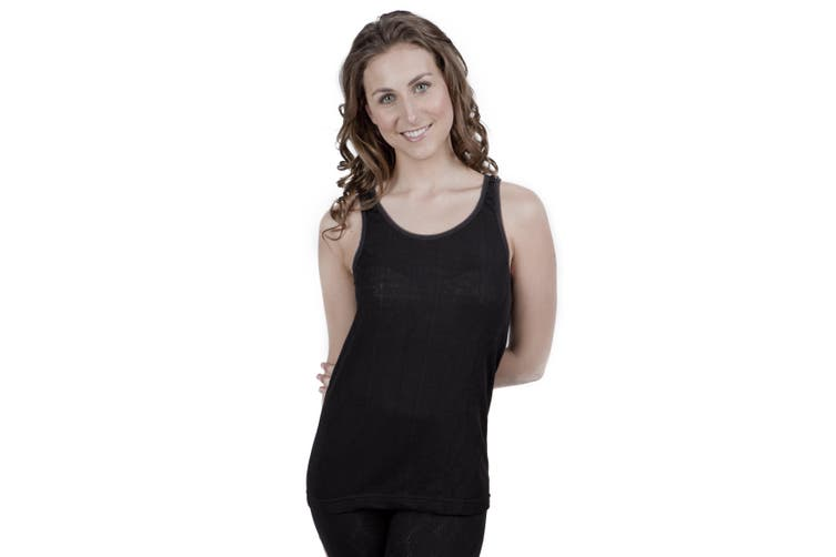 Ladies Thermal Wear Sleeveless Vest Polyviscose Range (British Made) (Black) (Bust Fit: 38-40inch (14-16))