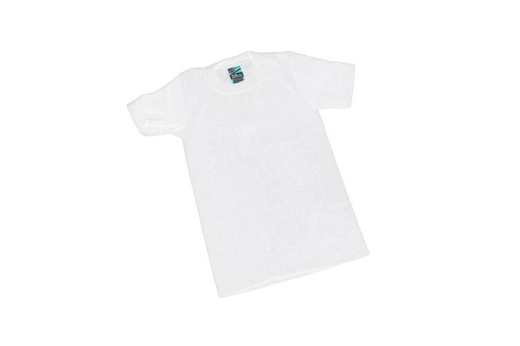 Boys Thermal Clothing Short Sleeved T Shirt Polyviscose Range (British Made) (White) (Chest: 20-22inch (Age 3-5))