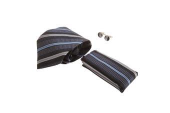 Pierre Roche Mens Tie, Handkerchief And Cufflink Set (Navy Stripe) (One Size)