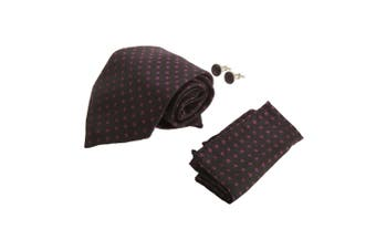 Pierre Roche Mens Tie, Handkerchief And Cufflink Set (Purple Flowers) (One Size)