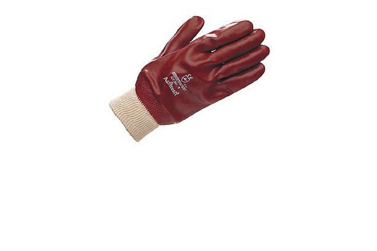 Unisex Adults Gloves PVC Fully Coated Knit Wrist (Red) (Large)