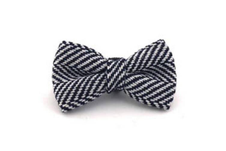 Hugo & Hudson Herringbone Bow Tie (Navy) (L)