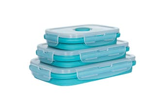 Trespass Lunchset Silicone Collapsible Boxes (Set Of 3) (Lagoon) (Set of 3)