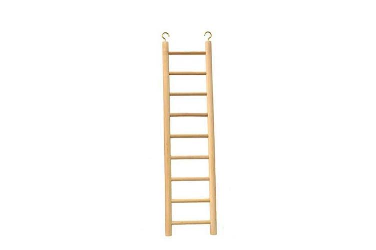 Beaks Wooden Budgie 9 Step Toy Ladder (Beige) (15 inch)
