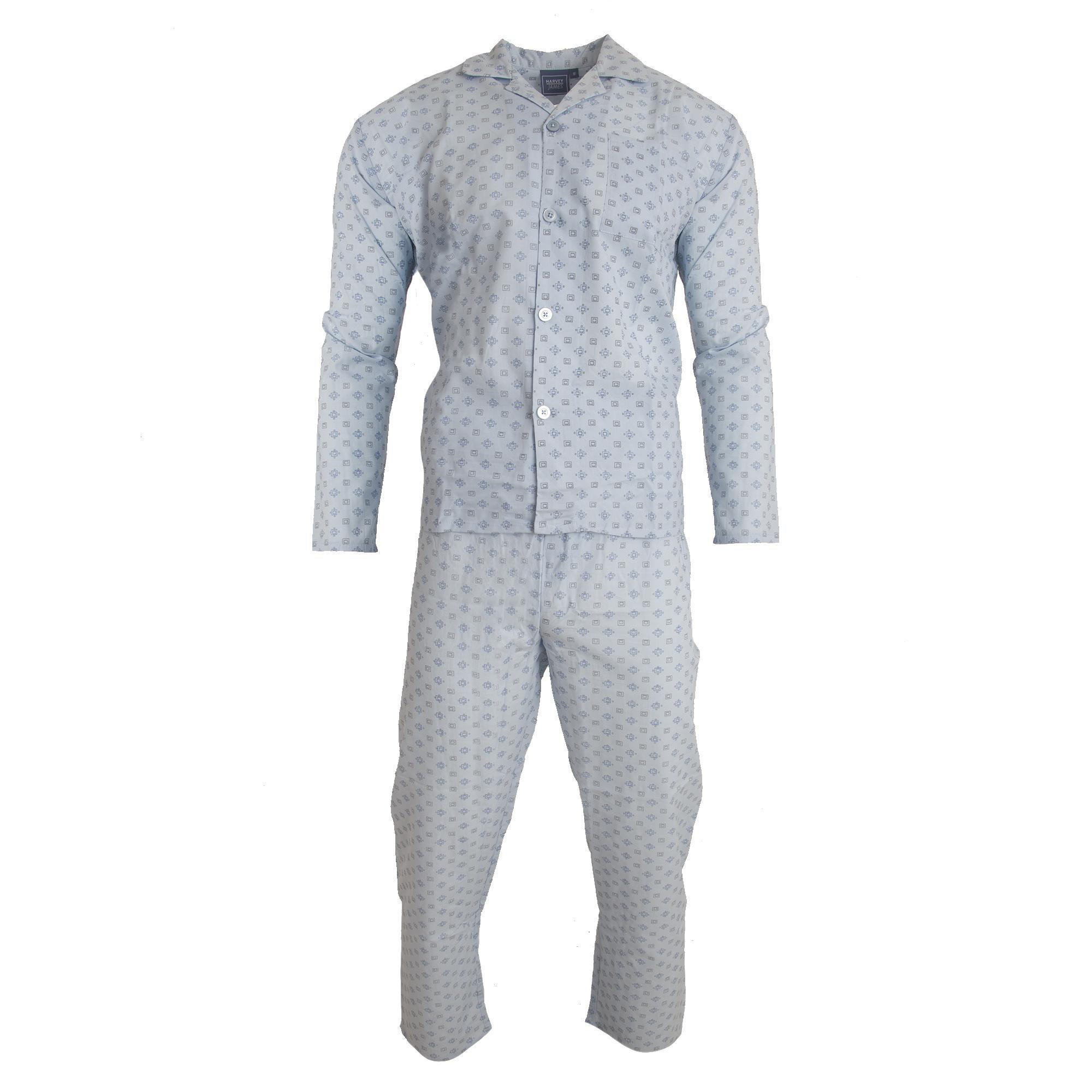 Harvey James Mens Satin Long Sleeve Shirt Trouser Bottoms Pyjama Set