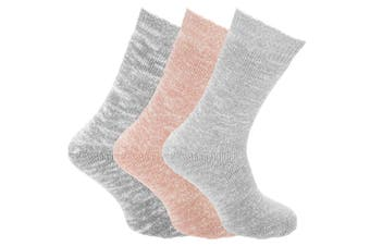 Womens/Ladies Wool Blend Chunky Knit Outdoor Boot Socks (3 Pairs) (Grey) (4-7 UK)