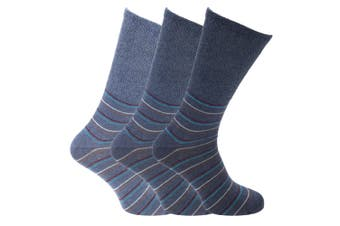Mens Big Foot Extra Wide Socks (3 Pairs) (Navy) (11-14 UK)