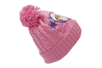 Frozen Childrens/Kids Anna And Elsa Knitted Bobble Hat (Pink) (L)