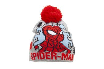 Spider-Man Childrens/Kids Beanie Bobble Hat (Grey)