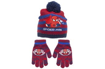 Spider-Man Childrens/Kids Striped Beanie Bobble Hat And Gloves Set (Navy/Red)