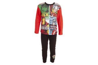Avengers Childrens/Kids Comic Panel Long Pyjamas (Red) - UTUT192