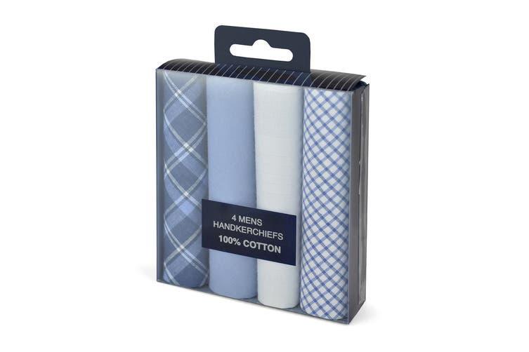 Tom Franks Mens Cotton Handkerchiefs (Pack Of 4) (Blue/White) (One Size)