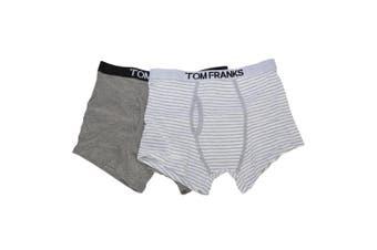 Tom Franks Mens 100% Cotton Trunks (Pack Of 2) (White) - UTUT227