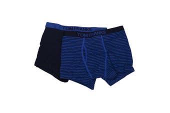 Tom Franks Mens 100% Cotton Trunks (Pack Of 2) (Blue) - UTUT227