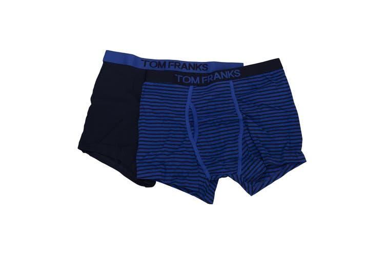 Tom Franks Mens 100% Cotton Trunks (Pack Of 2) (Blue) (L)