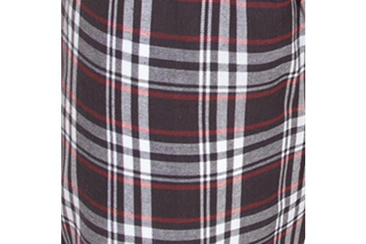 Brave Soul Mens Check Loungewear Set (Charcoal) (XL)