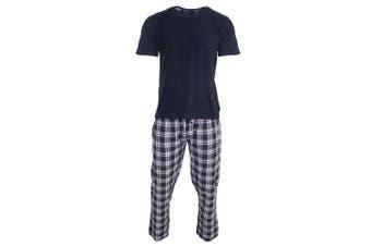 Brave Soul Mens Check Loungewear Set (Navy) (M)