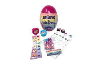Childrens/Kids Unicorn Egg Shaped Stationery Set (Pink) (One Size)