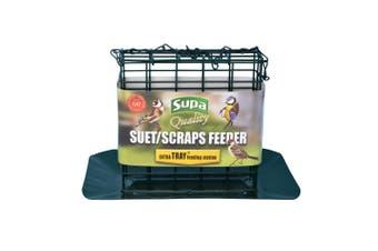 Supa Premium Suet Block/Scrap Bird Feeder With Tray (Green) (One size)