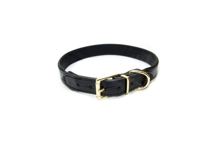 Vital Pet Products Slim Black Leather Dog Collar (Black) (15mm x 35cm)