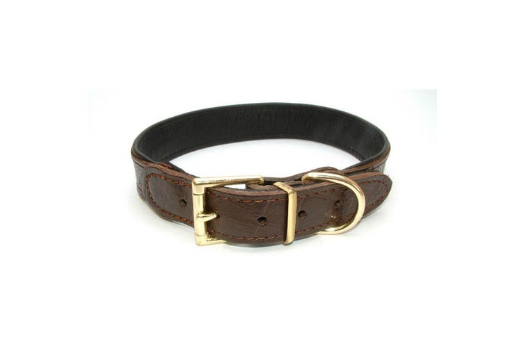 Vital Pet Products Chunky Brown Leather Dog Collar (Brown) (15mm x 35cm)